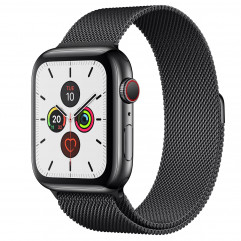 Apple Watch Series 5 GPS + Cellular 44mm Space Black Stainless Steel Case with Space Black Milanese Loop (MWW82, MWWL2)