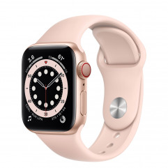 Apple Watch Series 6 GPS + Cellular 40mm Gold Aluminum Case with Pink Sand Sport Band (M02P3, M06N3)