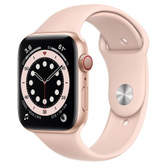 Apple Watch Series 6 GPS + Cellular 44mm Gold Aluminum Case with Pink Sand Sport Band (M07G3, MG2D3)