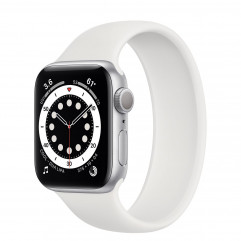 Apple Watch Series 6 GPS 40mm Silver Aluminum Case (MG183) with White Solo Loop Size 4 (MYNQ2)