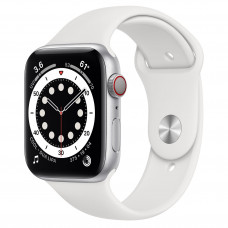 Apple Watch Series 6 GPS + Cellular 44mm Silver Aluminum Case with White Sport Band (M07F3, MG2C3)