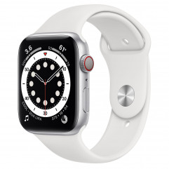 NEW OPEN BOX Apple Watch Series 6 GPS + Cellular 44mm Silver Aluminum Case with White Sport Band (M07F3, MG2C3)