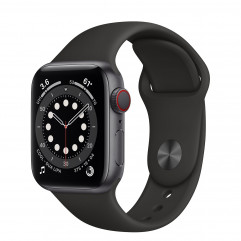 Apple Watch Series 6 GPS + Cellular 40mm Space Gray Aluminum Case with Black Sport Band (M02Q3, M06P3)