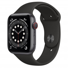Apple Watch Series 6 GPS + Cellular 44mm Space Gray Aluminum Case with Black Sport Band (M07H3, MG2E3)