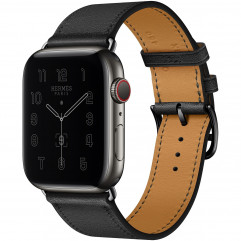 Apple Watch Hermes Series 6 GPS + Cellular 44mm Space Black Stainless Steel Case with Noir Swift Leather Single Tour (MG3H3 + H078741CZ89)
