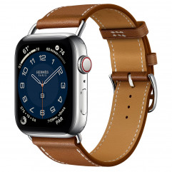 Apple Watch Hermes Series 6 GPS + Cellular 44mm Silver Stainless Steel with Fauve Barénia Leather Attelage Single Tour (MG3G3 + H078800CJ34)