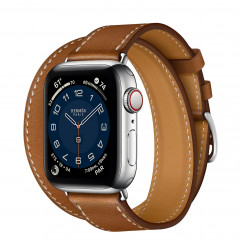 Apple Watch Hermes Series 6 GPS + Cellular 40mm Silver Stainless Steel Case with Fauve Barénia Leather Double Tour (MG3K3 + H074199CJ34)