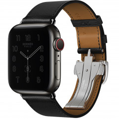 Apple Watch Hermes Series 6 GPS + Cellular 44mm Space Black Stainless Steel Case with 44mm Noir Swift Leather Single Tour Deployment Buckle (MG3H3 + H078782CJ89)