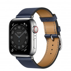 Apple Watch Hermes Series 6 GPS + Cellular 40mm Silver Stainless Steel Case with Navy Swift Leather Single Tour (MG3K3 + H077051CJ7U)