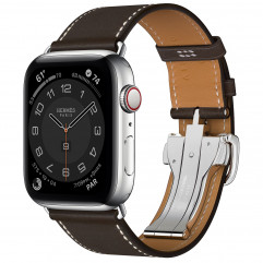 Apple Watch Hermes Series 6 GPS + Cellular 44mm Silver Stainless Steel Case with Ebene Barenia Leather Single Tour Deployment Buckle (MG3G3 + H074198CJ46)