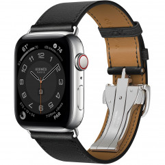 Apple Watch Hermes Series 6 GPS + Cellular 44mm Silver Stainless Steel Case with Noir Swift Leather Single Tour Deployment Buckle (MG3G3 + H078782CJ89)