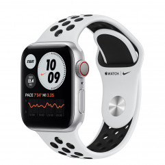 Apple Watch Series 6 Nike GPS + Cellular 40mm Silver Aluminum Case with Pure Platinum/Black Nike Sport Band (M06J3, M07C3)