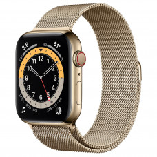 Apple Watch Series 6 GPS + Cellular 44mm Gold Stainless Steel Case with Gold Milanese Loop (M07P3, M09G3)