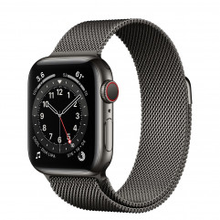 Apple Watch Series 6 GPS + Cellular 40mm Graphite Stainless Steel Case with Graphite Milanese Loop (MG2U3, M06Y3)
