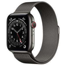 Apple Watch Series 6 GPS + Cellular 44mm Graphite Stainless Steel Case with Graphite Milanese Loop (M07R3, M09J3)