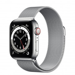 Apple Watch Series 6 GPS + Cellular 40mm Silver Stainless Steel Case with Silver Milanese Loop (M02V3, M06U3)