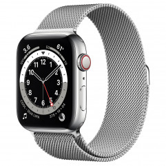 Apple Watch Series 6 GPS + Cellular 44mm Silver Stainless Steel Case with Silver Milanese Loop (M07M3, M09E3)