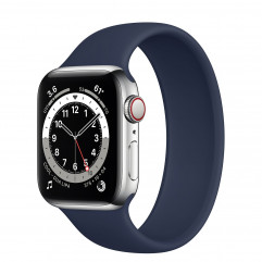 Apple Watch Series 6 GPS + Cellular 40mm Silver Stainless Steel Case (M0DV3) with Deep Navy Solo Loop - Size 7 (MYPQ2)