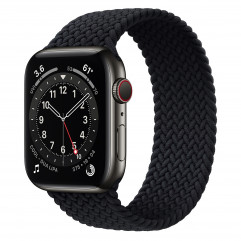 Apple Watch Series 6 GPS + Cellular 44mm Graphite Stainless Steel Case with Charcoal Braided Solo Loop - Size 11 (MY8L2)