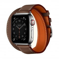 Apple Watch Hermes Series 6 GPS + Cellular 40mm Silver Stainless Steel Case with Etoupe Swift Leather Double Tour (MG3K3 + H074200CJ18)