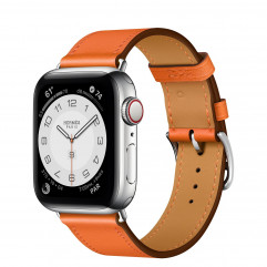 Apple Watch Hermes Series 6 GPS + Cellular 40mm Silver Stainless Steel Case with Orange Swift Leather Single Tour (MG3K3 + H077051CJ93)
