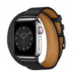 Apple Watch Hermes Series 6 GPS + Cellular 40mm Silver Stainless Steel Case with Noir Swift Leather Double Tour (MG3K3 + MX2Q2)