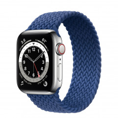 Apple Watch Series 6 GPS + Cellular 40mm Silver Stainless Steel Case (M0DV3) with Atlantic Blue Braided Solo Loop - Size 5 (MY702)