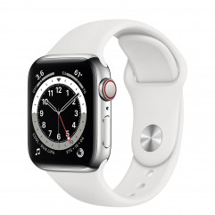 Apple Watch Series 6 GPS + Cellular 40mm Silver Stainless Steel Case with White Sport Band (M02U3, M06T3)