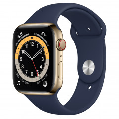 NEW OPEN BOX Apple Watch Series 6 GPS + Cellular 44mm Gold Stainless Steel Case with Deep Navy Sport Band (MJXL3)