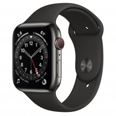 Apple Watch Series 6 GPS + Cellular 44mm Graphite Stainless Steel Case with Black Sport Band (M07Q3, M09H3)