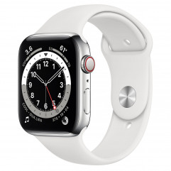 Apple Watch Series 6 GPS + Cellular 44mm Silver Stainless Steel Case with White Sport Band (M07L3, M09D3)