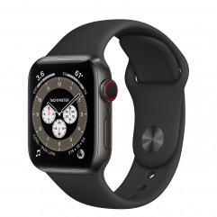 Apple Watch Edition Series 6 GPS + Cellular 40mm Space Black Titanium Case with S/M Dark Gray Sport Band (M0DX3) + Black Sport Band (MTP62)