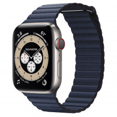 Apple Watch Edition Series 6 GPS + Cellular 44mm Titanium Case with M/L Light Gray Sport Band (M0H23) + Apple Diver Blue Leather Loop - Large (MGXD3)